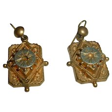 Vintage English Gold Filled Earrings Circa 1900