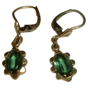 Vintage French Gold Filled Green Paste Earrings