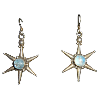Vintage French 925 Silver Moonstone Earrings