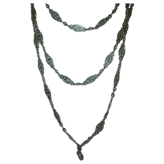 Antique French 900 Silver Long Guard Muff Chain 33.5 gr