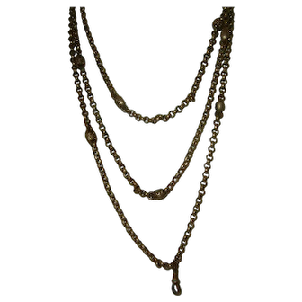 Antique French Gold Filled Long Guard Muff Chain Lovely