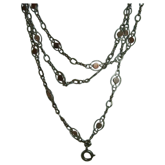 Antique French 900 Silver Long Guard Muff Chain Vermeil