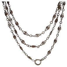 Antique French 900 Silver Long Guard Muff Chain Super Price