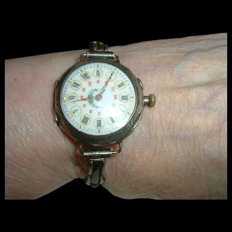 Vintage French 900 Silver Wristwatch Super Unusual