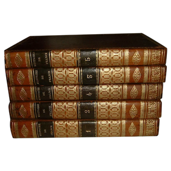 Antique French Full Leather Books 5 Volumes 1832