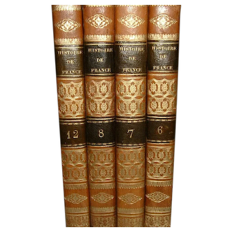 Vintage French Full Leather Books 1832 4 volumes