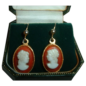 Vintage French Gold Filled Cameo Earrings