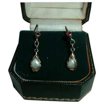 Vintage French 900 Silver Cultured Pearl and Ruby Earrings