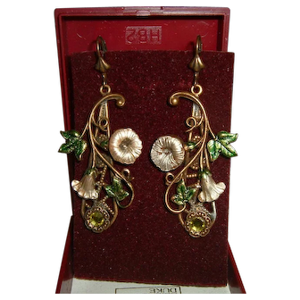 Vintage English Super Long Earrings with Enamel