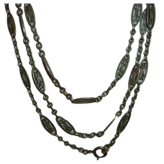 Antique French 900 Silver Long Guard Muff Chain Heavy 46 gr