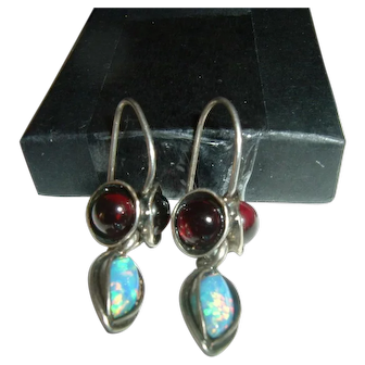 Vintage French 925 Silver Ruby and Opal Earrings