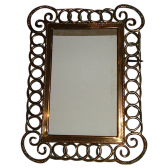 Antique English Brass Ring Picture Frame