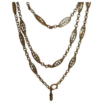 Antique French Gold Filled Long Guard Muff Chain 40 gr