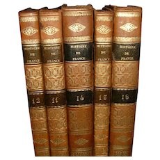 Vintage French Full Leather Books 5 Volumes 1832