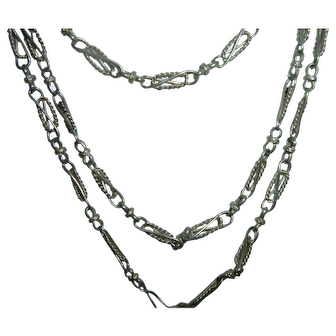 Antique French 900 Silver Long Guard Muff Chain Pretty