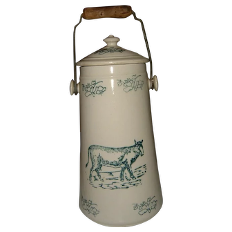 Antique French Uze Pottery Milk Pail Kitchenalia