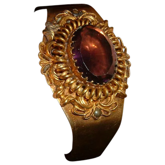 Vintage English Brass Bracelet Amethyst Paste Stone