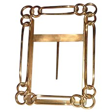 Antique English Brass Ring Picture Frame Heavy