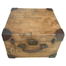 Antique English Decoupage Small Trunk