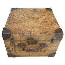 Antique English Decoupage Small Trunk