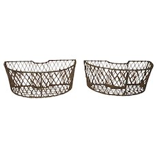 Vintage Large  French Pair of Iron Wire Planters Fabulous