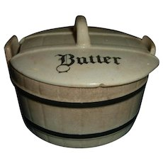Antique English Banded Butter Dish Rare Kitchenalia