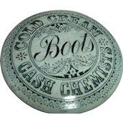 Vintage English Advertising Boots Chemist Cold Cream Pot Lid Jar