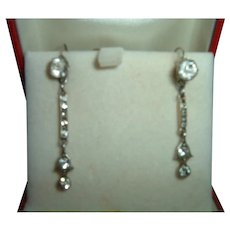Antique 900 French Silver & Paste Earrings Circa 1900