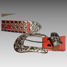 Vintage Designer Leather Western Style Belt Rhinestones