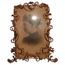 Antique Ornate English Brass Frame
