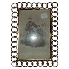 Antique English Brass Ring Picture Frame #2