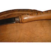 Antique English Wooden Bread Board and Wood Knife