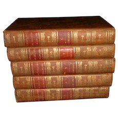 Vintage French Full Leather Books 5 Volumes 1820