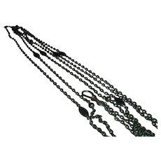 Antique French Gunmetal Long Guard Muff Chain