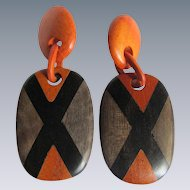 Vintage Orange /Black Large Scale Wood Inlaid X Pattern Base Metal Clip Earrings
