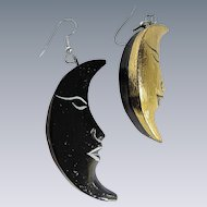 Vintage Man in the Moon Painted Wood Pierced Earrings