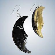 Vintage Man in the Moon Painted Wood Pierced Earrings