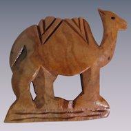 Vintage Hand Carved Olive Wood Camel Brooch