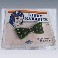 Art Deco Kiddy Barrette Green Bakelite on Original Card- Sapin product