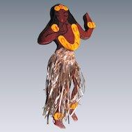 Vintage Wood Novelty Hand Painted Hawaiian Girl with Original Tinsel Skirt Brooch