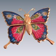 Vintage Brass Enamelled Sparkly Butterfly Brooch with stamped metal