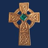 Vintage Signed Danecraft Celtic Cross with Green Cabochon GP Brooch