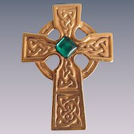 Vintage Signed Danecraft Celtic Cross with Green Cabochon GP Brooch