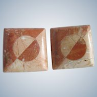 Vintage Unsigned Travertine Inlaid Square Clip Earrings