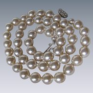 Vintage Glass Faux Simulated Pearl Hand Knotted Silk Necklace with Base Metal Rhinestone Clasp
