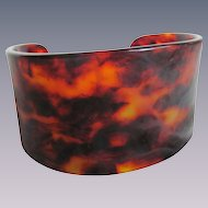 Vintage Cellulose Acetate Faux Tortoise Shell Cuff Bangle