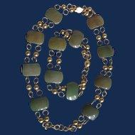 Vintage Green Galalith Link GP Bracelet and Necklace Set