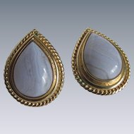 Vintage Blue Lace Agate AKA Chalcedony Banded Pear Tear Drop Shaped Cabochon GP Omega Pierced Earrings
