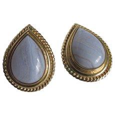 Vintage Blue Lace Agate AKA Chalcedony Banded Pear Tear Drop Shaped Cabochon GP Omega Pierced Earrings