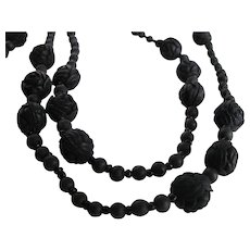 Victorian Rose Petal 32 Inches Mourning Jewelry Necklace